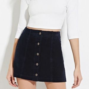 Forever 21 High-Waisted Black Corduroy Skirt